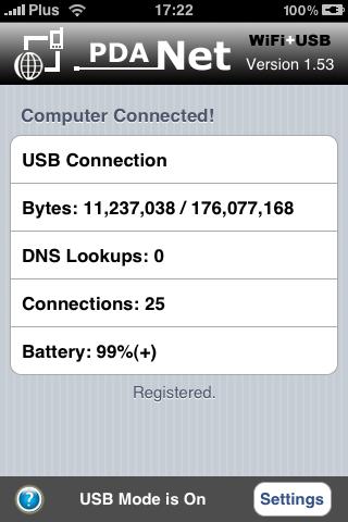 PdaNet USB mode
